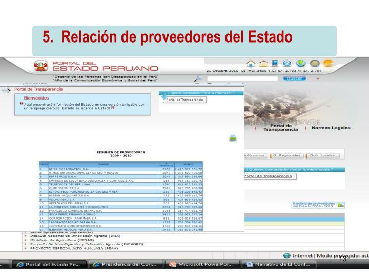 5.  Relación de proveedores del Estado