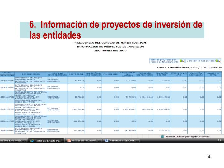 6.  Información de proyectos de inversión de las entidades