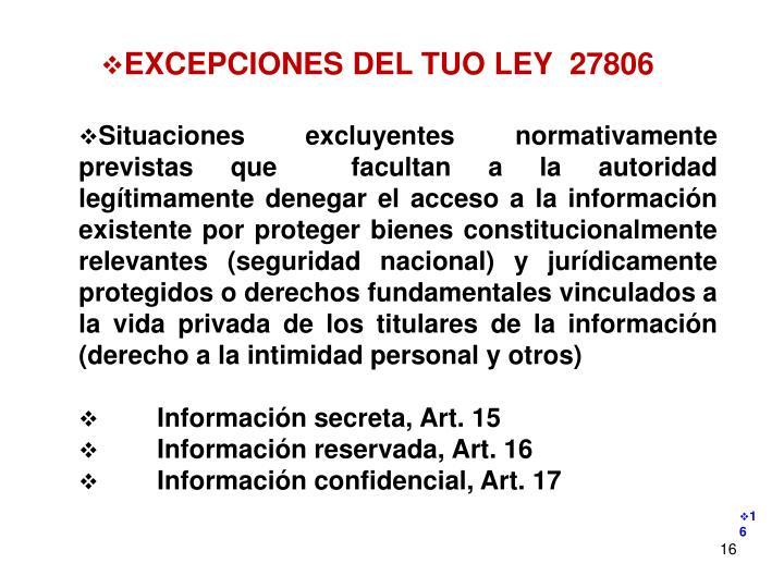EXCEPCIONES DEL TUO LEY  27806