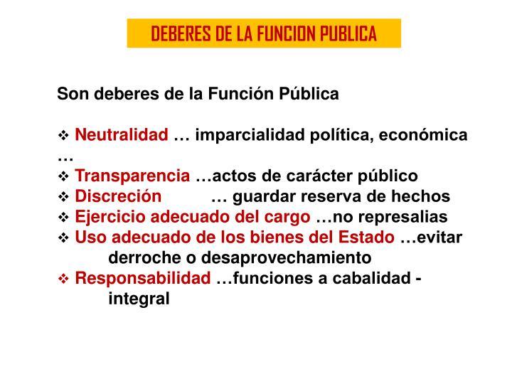 DEBERES DE LA FUNCION PUBLICA