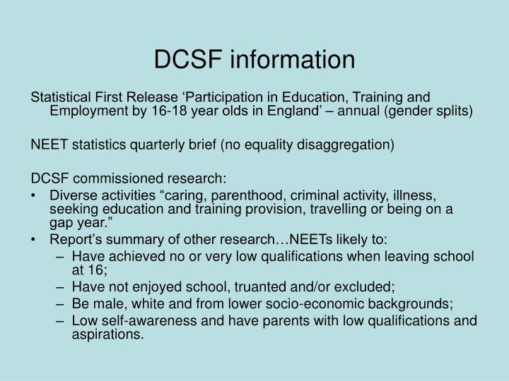 DCSF information