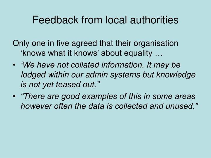 Feedback from local authorities