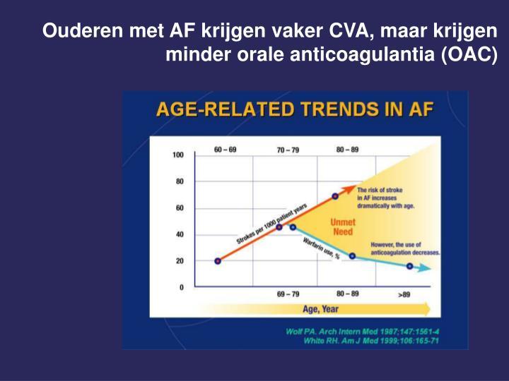 Ouderen met AF krijgen vaker CVA, maar krijgen minder orale anticoagulantia (OAC)