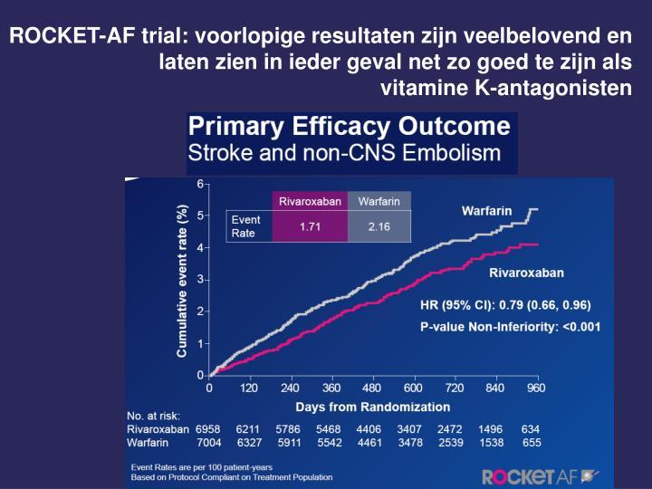 ROCKET-AF trial: voorlopige resultaten zijn veelbelovend en laten zien in ieder geval net zo goed te zijn als