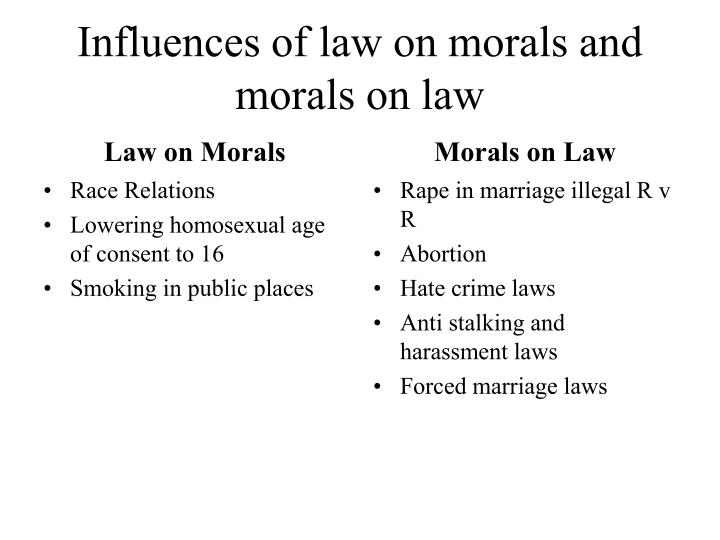 Influences of law on morals and morals on law