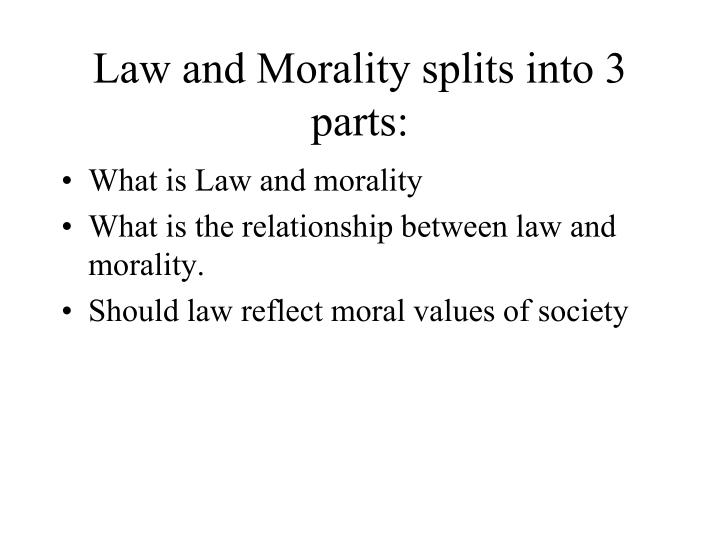 Law and Morality splits into 3 parts: