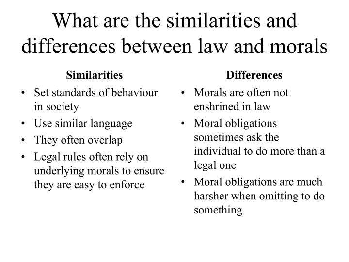 What are the similarities and differences between law and morals