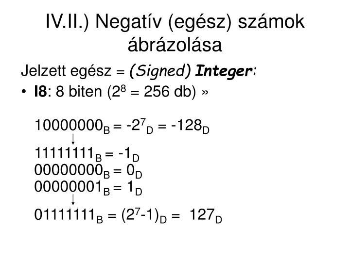 IV.II.) Negatív (egész) számok ábrázolása