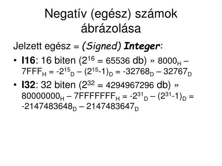 Negatív (egész) számok ábrázolása