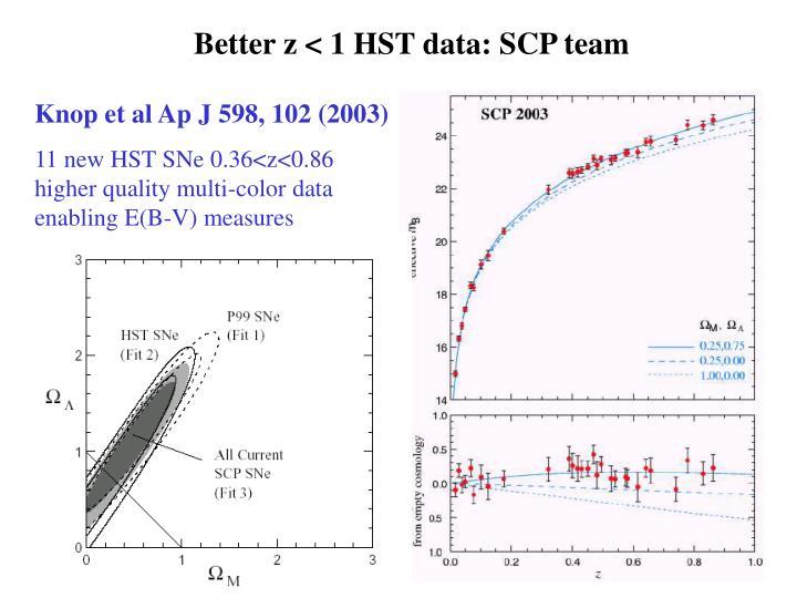 Better z < 1 HST data: SCP team