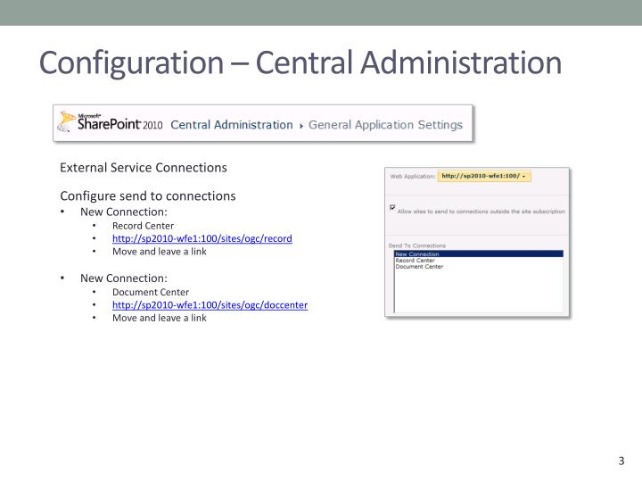 Configuration central administration