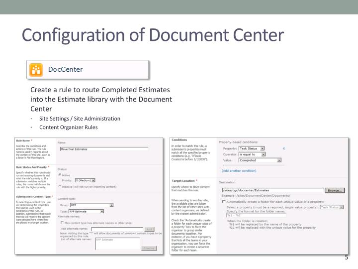 Configuration of Document Center