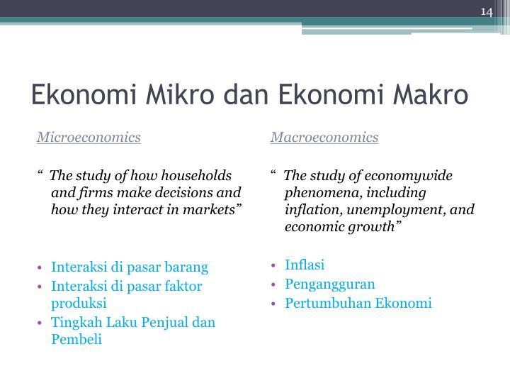 Ekonomi Mikro dan Ekonomi Makro