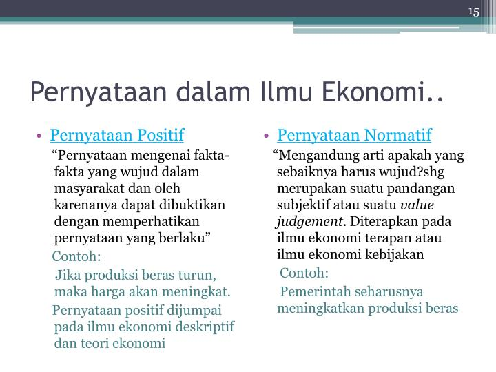 Pernyataan dalam Ilmu Ekonomi..