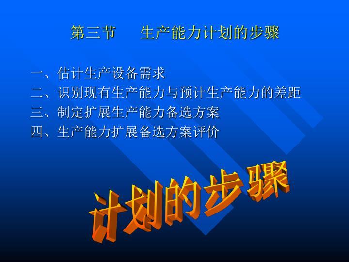 第三节      生产能力计划的步骤