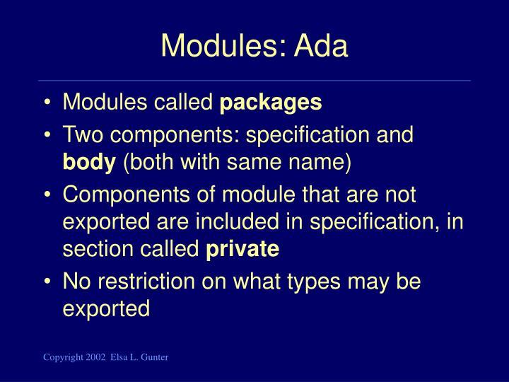 Modules: Ada