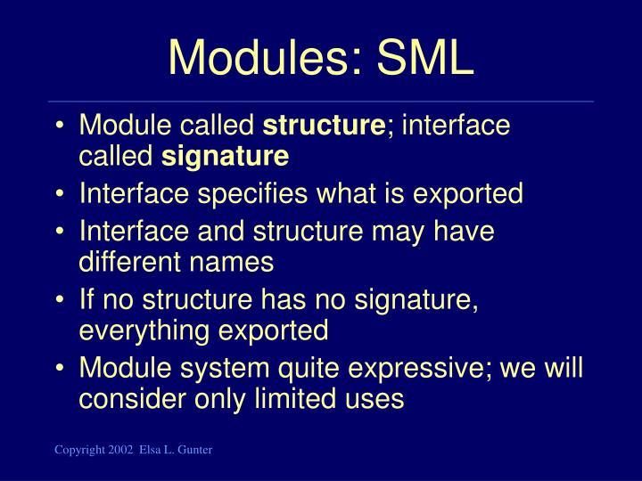 Modules: SML