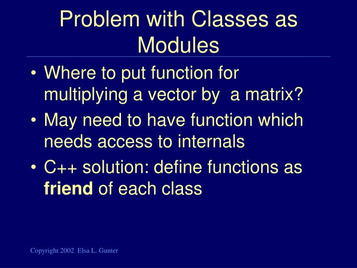 Problem with Classes as Modules