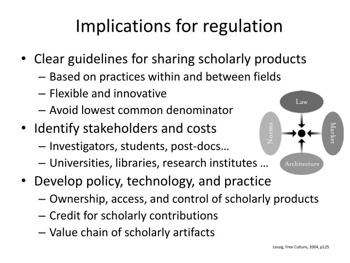 Implications for regulation