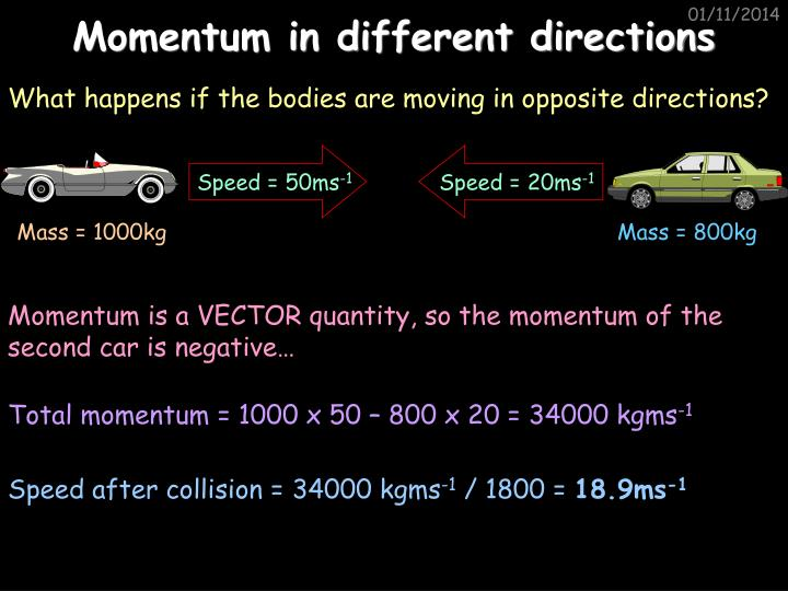 Momentum in different directions