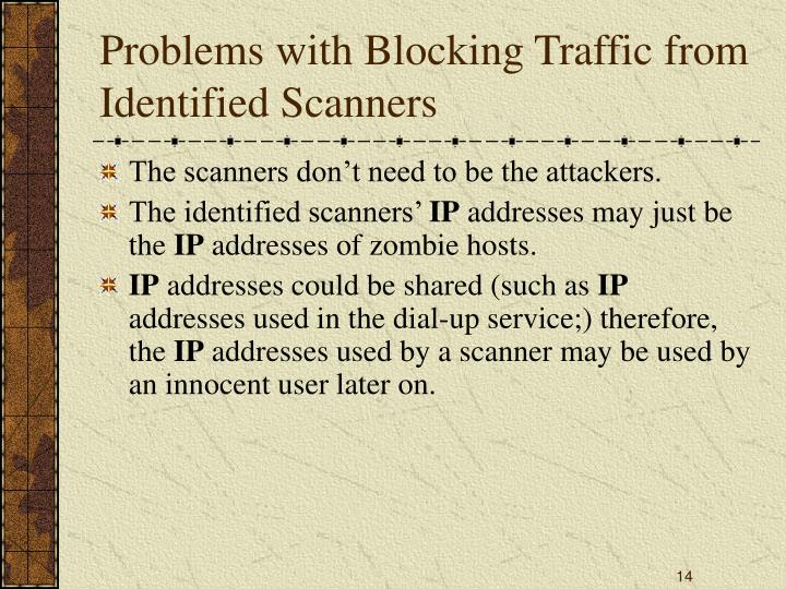 Problems with Blocking Traffic from Identified Scanners
