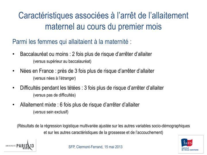 Caractéristiques associées à l'arrêt de l'allaitement maternel au cours du premier mois