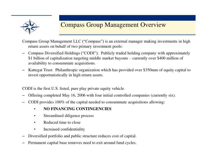 Compass Group Management Overview