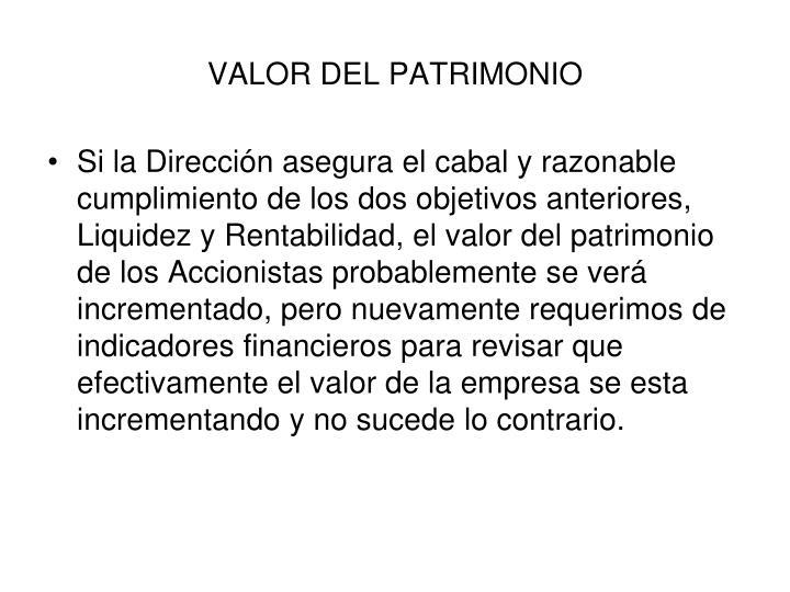 VALOR DEL PATRIMONIO