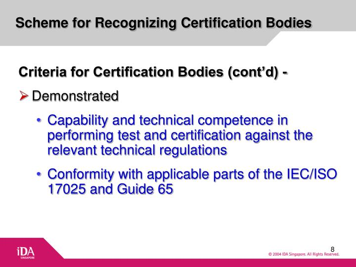 Scheme for Recognizing Certification Bodies