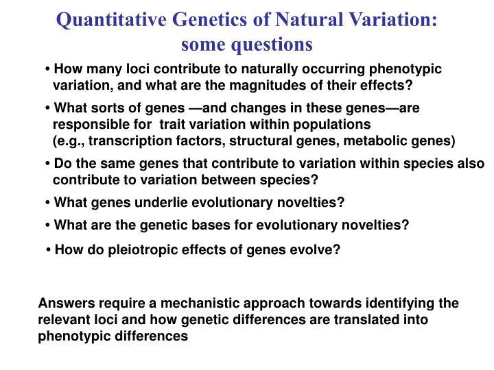 Quantitative Genetics of Natural Variation: some questions