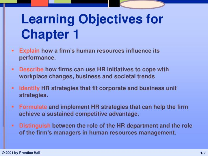 Learning objectives for chapter 1