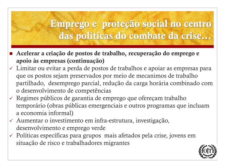 Emprego e  proteção social no centro