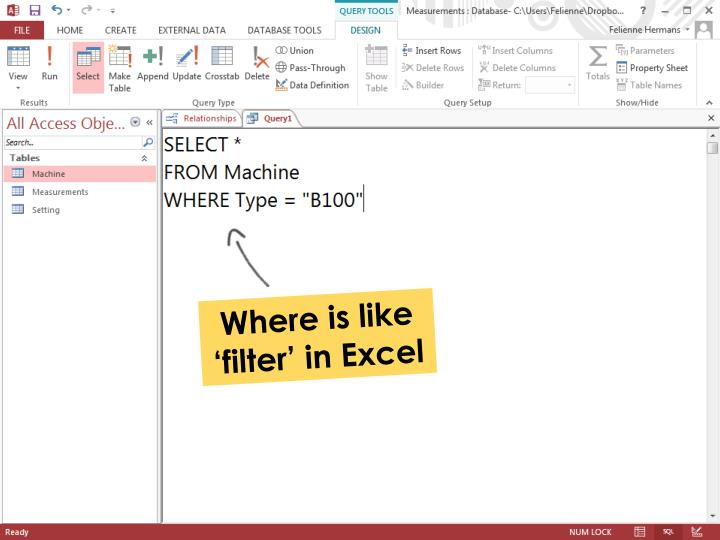 Where is like 'filter' in Excel
