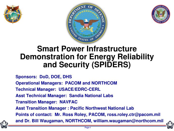 Smart power infrastructure demonstration for energy reliability and security spiders
