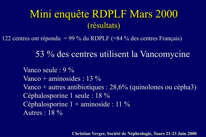 Mini enquête RDPLF Mars 2000