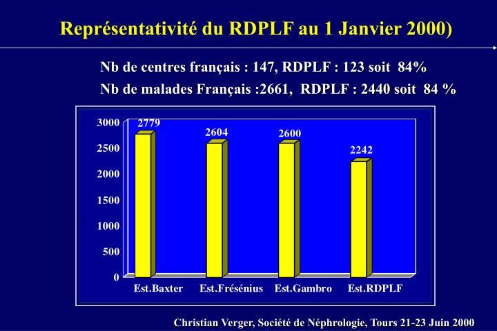 Représentativité du RDPLF au 1 Janvier 2000)