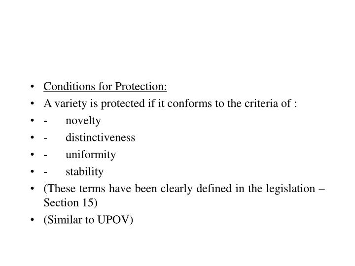 Conditions for Protection: