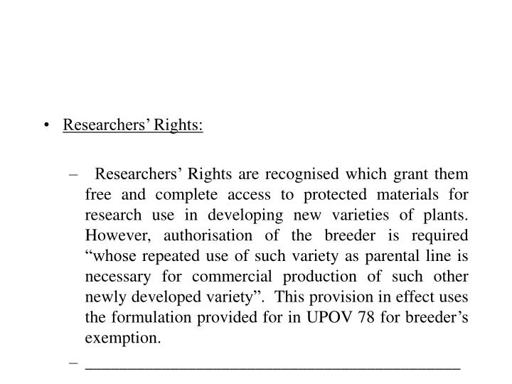 Researchers' Rights: