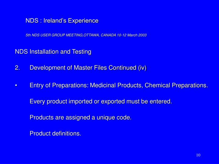 NDS Installation and Testing