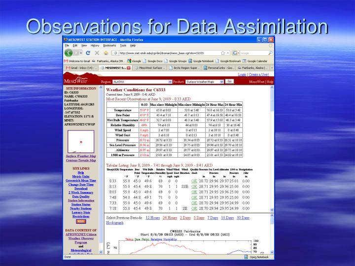 Observations for Data Assimilation