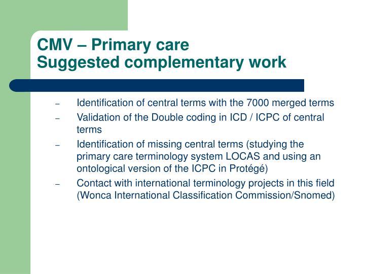 CMV – Primary care