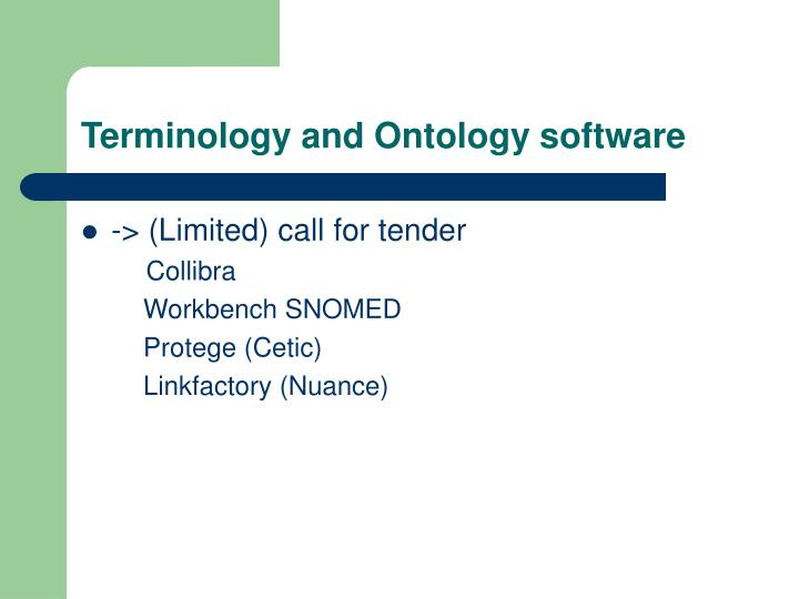 Terminology and Ontology software