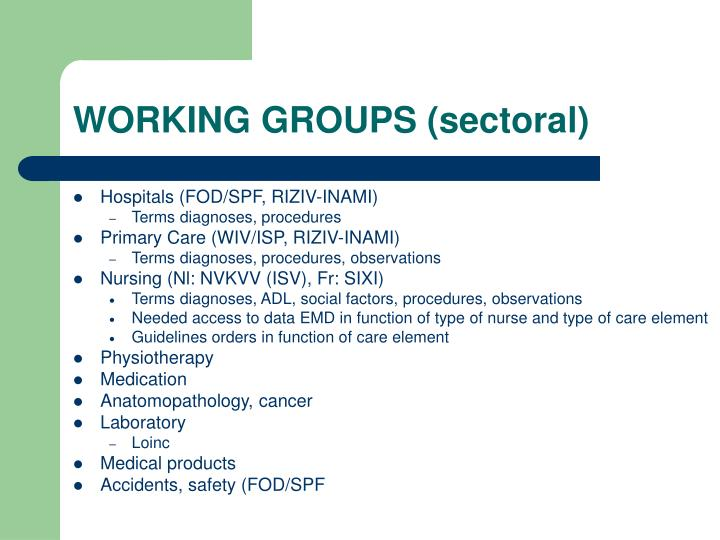 WORKING GROUPS (sectoral)