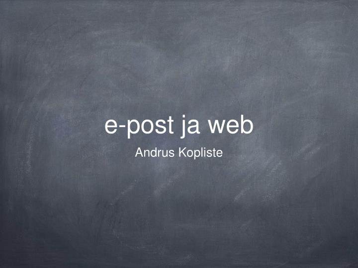 E post ja web