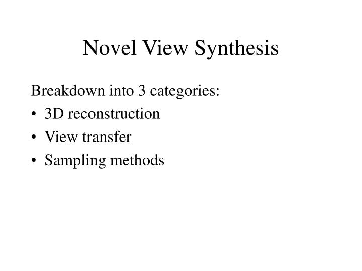Novel view synthesis