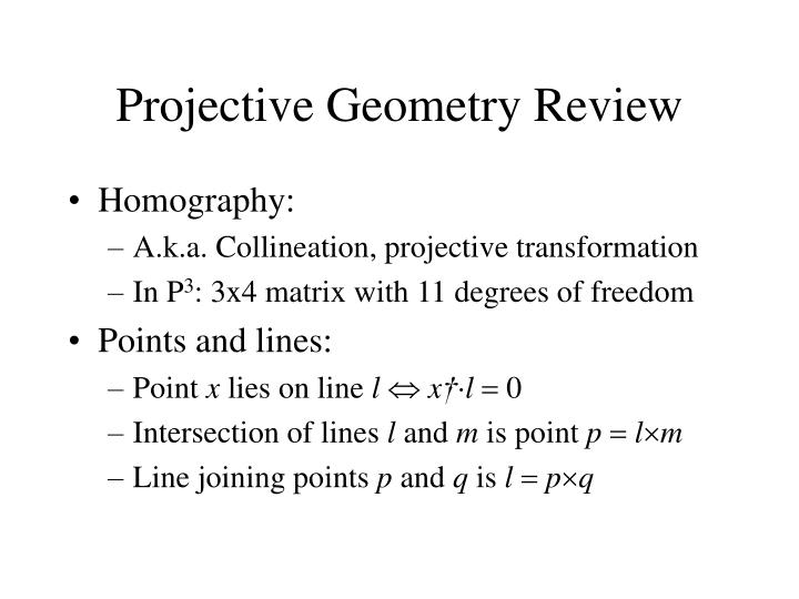 Projective Geometry Review