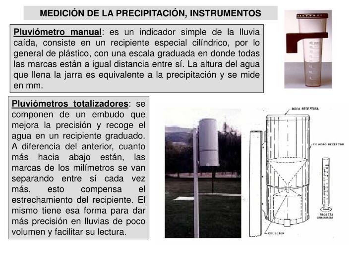 MEDICIÓN DE LA PRECIPITACIÓN, INSTRUMENTOS