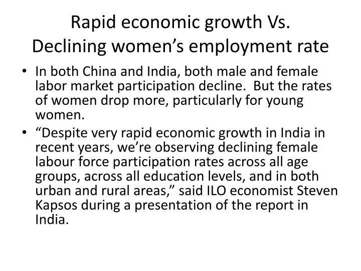 Rapid economic growth vs declining women s employment rate