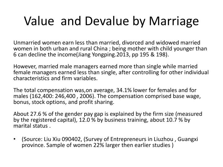 Value  and Devalue by Marriage
