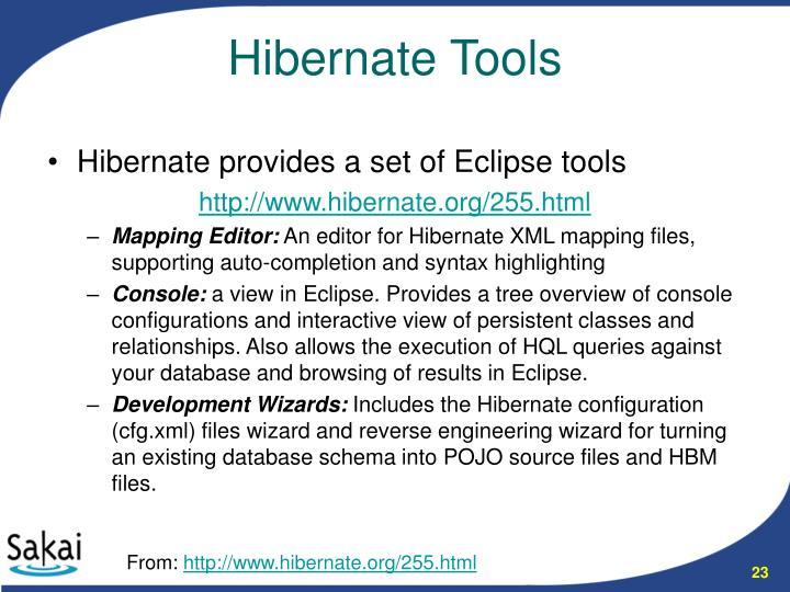Hibernate provides a set of Eclipse tools